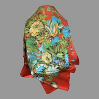Vintage Liberty of London Tulip Theme Silk Scarf