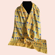 Vintage Yellow Tulip Scarf from Holland