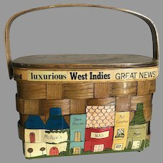 Vintage Basket Purse with a Travel and Pensacola Florida Theme