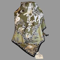 Silk Satin Adrienne Landau Studios Asian Jungle Print Scarf
