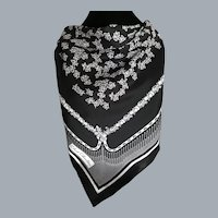 Vintage Claude Chevalier Black and White Scarf