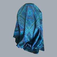 Vintage Blue Silk Paisley Print Scarf