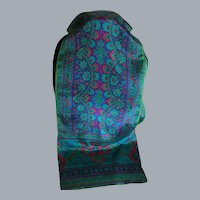 Vintage Jeweltone Silk Rectangular Scarf