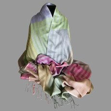 Vintage Silk Blend Multiple Pastels Wrap / Shawl