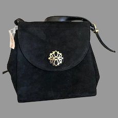 Vintage Black Suede Salvatore Ferragamo Handbag / Purse