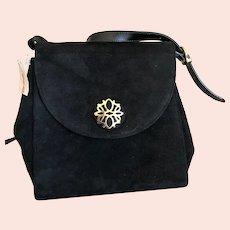 Vintage Black Suede Salvatore Ferragamo Handbag / Purse