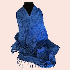Vintage Royal Blue Fleur de lis Motif Wrap / Scarf