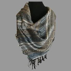 Vintage Earth Tone Fringed Scarf