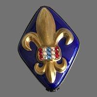 Vintage Fleur De Lis Miniature Limoges Diamond Shaped  Box