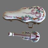 Vintage Limoges Miniature Violin and Case Porcelain Box