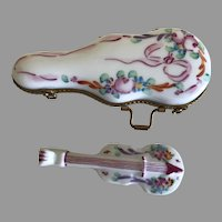 Vintage Limoges Miniature Violin and Case Porcelain Box For Your Fashion Doll