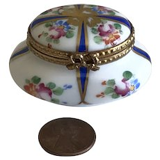 Vintage Limoges Oval Dresser Box - French Miniature for Your Fashion Doll Porcelain