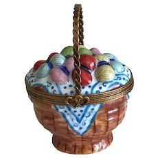 Vintage Miniature Limoges Basket of Yarn Porcelain Box