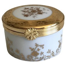 Vintage Miniature Limoges Round White and Gold Porcelain Box