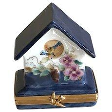 Limoges Miniature Birdhouse Porcelain Box