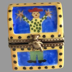 Vintage Limoges Miniature Hand Painted Porcelain Toy Box For Your Fashion Doll
