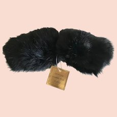 Vintage Dark Black Rabbit Fur Sleeve Cuffs