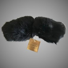 Vintage Rabbit Fur Sleeve Cuffs Dark Black