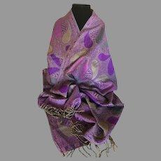Vintage Cashmere and Silk Scarf Wrap Shawl Plum