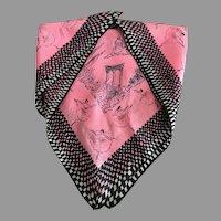 Vintage 1950s Pink and Black Paris Ballet Motif Silk Scarf