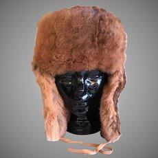 Vintage Natural Red Rabbit Fur Trapper Style Hat