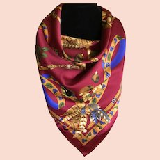 Vintage Fall / Winter Themed Scarf Made in Italy in Deep Red