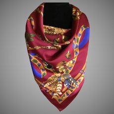 Vintage Fall Themed Scarf Made in Italy in Deep Red