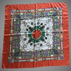 Vintage Italian Polyester Scarf with Medallion Motif