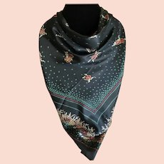 Vintage Black Silk Twill Scarf with floral Accents