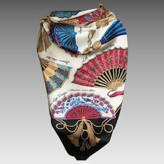 Vintage Italian Polyester Scarf with Fan Motif