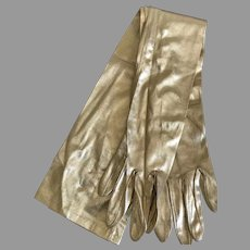 Vintage Fownes Long 3 Button Gold Lame' Gloves