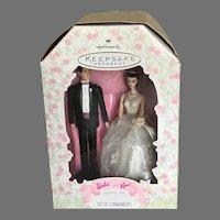 Vintage Barbie and Ken Bride and Groom Wedding Day Hallmark Ornaments