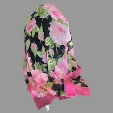 Black and Pink Semi Sheer 100% Polyester Scarf Made in Italy