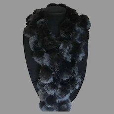 Pom Pom Black fur Scarf