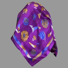Vintage EZ Care Polyester Plum Scarf Made in Italy