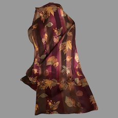 Vintage Leaves of Autumn EZ Care Polyester Scarf