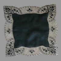 Black Cotton and Sheer Lace Handkerchief
