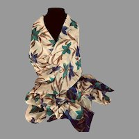 Vintage Silk Chiffon XL Scarf or Wrap in Fall Colors