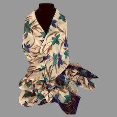 Vintage Silk Chiffon XL Scarf or Wrap in Fall Colors