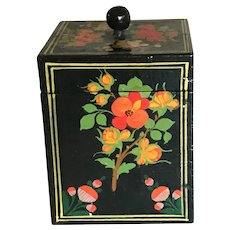 Rare Vintage Russian Lacquered Hand Painted Tea Box