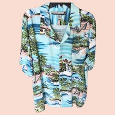 Vintage Hawaiian Sky Blue Island Motif Shirt in XL