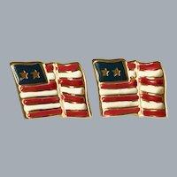 Vintage Red White and Blue Enameled Flag Pierced Earrings