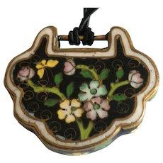 Vintage black cloisonne pendant