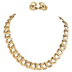 Vintage Monet goldtone double chain link necklace and pierced earrings.