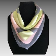 Vintage Mellow Rose, Gray and Lime Silk scarf