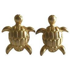 Vintage Gold Tone Sea Turtle Clip earrings by Ellen Designs