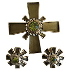 Vintage Byzantine Cross Brooch and Clip Earrings