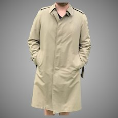 Mens khaki London Fog Rain Coat with Zip Out Lining Made in USA