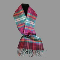 Vintage Tartan Plaid Cashmere Scarf Made in England