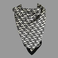 Vintage Black and White Italian Polyester Scarf